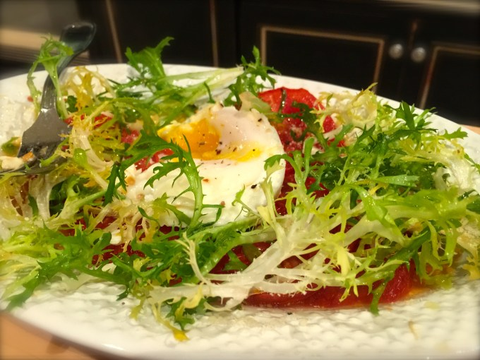 Roasted Tomatoes With Poached Eggs & Walnut Vinaigrette