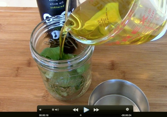 What To Do With Leftover Herbs:  Flavored Olive Oil