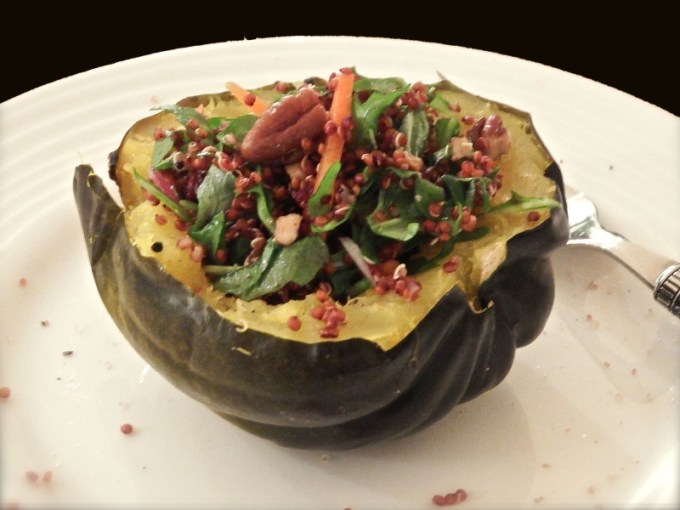 Acorn Squash With Quinoa Salad & Cranberry Herb Vinaigrette