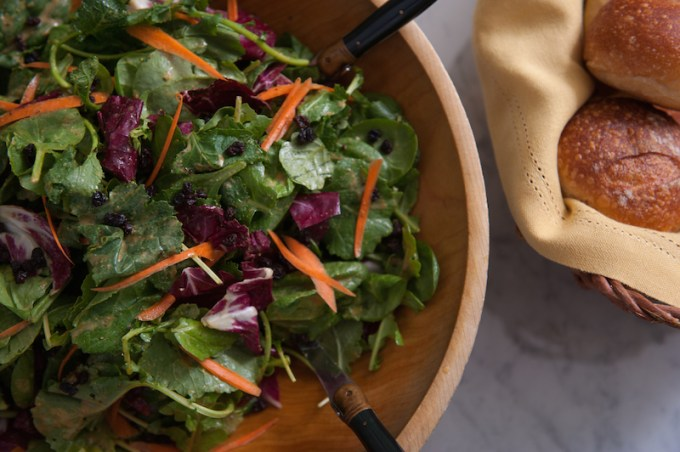 Spinach, Arugula & Radicchio Salad with Currants and Creamy Curry Dressing
