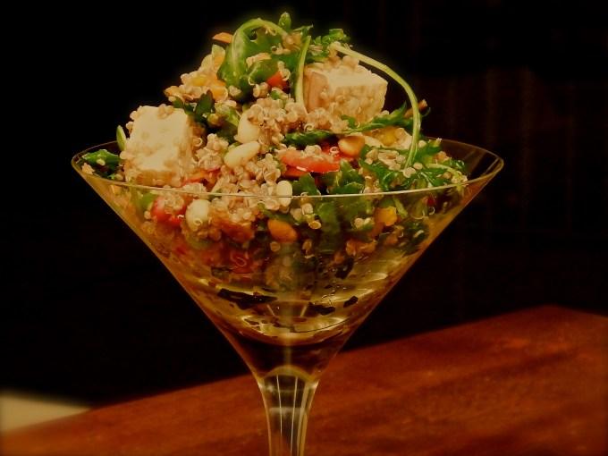 martini glass with tofu-toni with quinoa & walnut vinaigrette