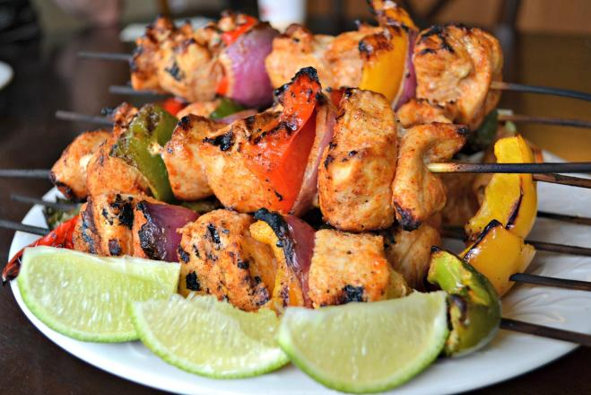 Chili-lime kabobs- perfect for a summer BBQ and pairs well with a light and refreshing pinot grigio wine