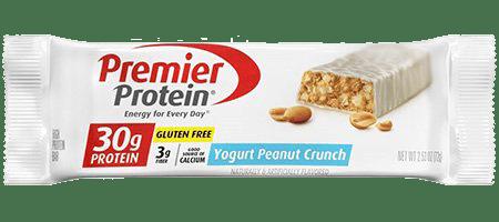 Premier Protein Yogurt Peanut Crunch Gluten-Free Protein Bar 30g of protein, 3g of fibre.