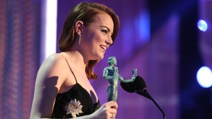 LOS ANGELES, CA - JANUARY 29: Actor Emma Stone, accepting the award for Female Actor in a Leading Role, during The 23rd Annual Screen Actors Guild Awards at The Shrine Auditorium on January 29, 2017 in Los Angeles, California. 26592_012 (Photo by Christopher Polk/Getty Images for TNT)