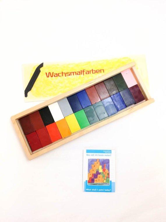 Stockmar Crayon Blocks Set of 24 in Wooden Box