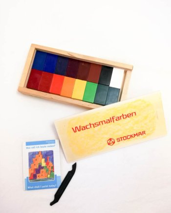 Stockmar Crayon Blocks Set of 16 in Wooden Box
