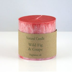 """Heaven Scent Organic Candle - 3x3"""" Pillar Candle in Wild Fig and Grape scent"""