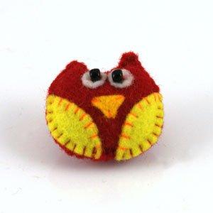 red/yellow owl felt brooch