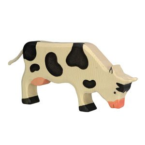 Holztiger Black Cow Grazing, wooden animal