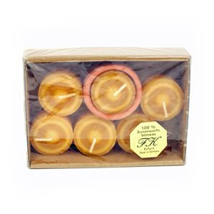 beeswax candles tealights with glass holder by Feine Kerzen