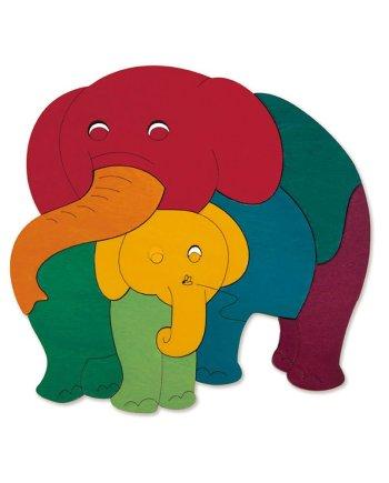 Rainbow elephant and baby puzzle