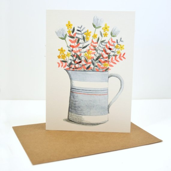 Milk Jug Bouquet Card by Sara Rhys