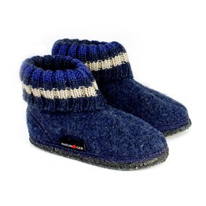 194e0c85c10 Haflinger Childrens Slipper Boot Paul - Jeans Blue - Salago Totnes