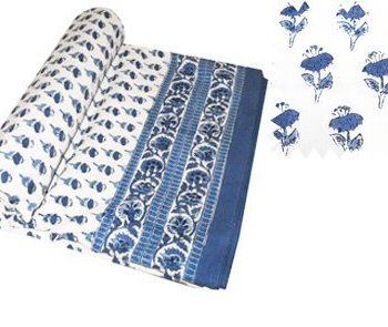 Block Printed Throws- Blue Bootie