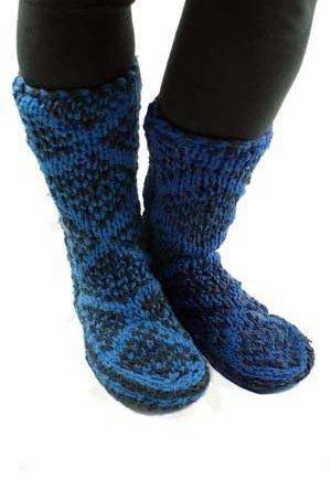 Afghan Slipper Sock Hand knitted