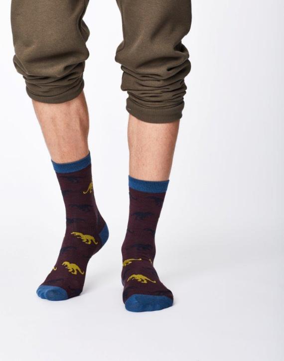 Thought Dinosaur Sock Aubergine