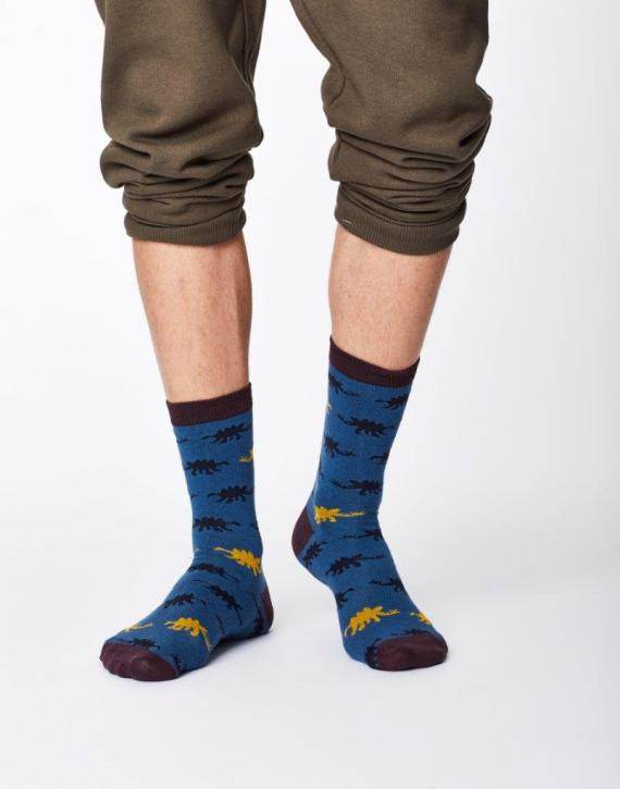Thought Dinosaur Sock Blue