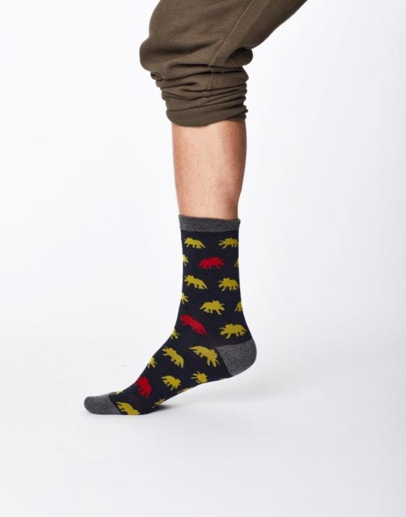 Thought Dinosaur Sock Navy