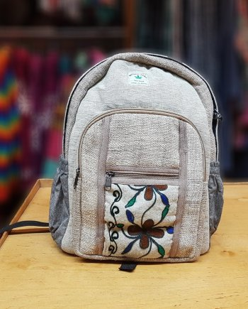 Hemp Backpack with Crewel Work