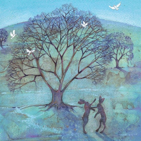 Boxing Hares Card, by Heart of a Garden