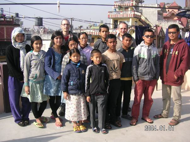 The children of Kathmandu Grace Orphanage on the roof of their next building just before the earthquake