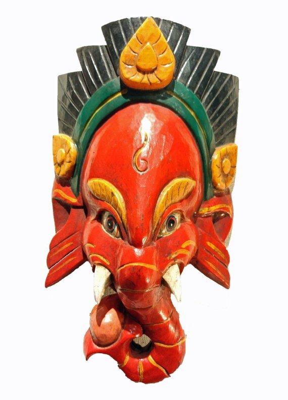 Ganesh Mask Red