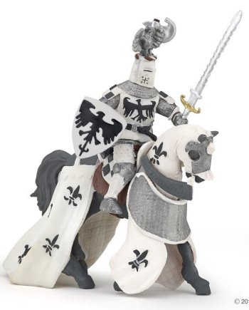 Papo Crested White Knight Horse, Figurine
