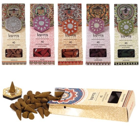 Karma Scents Incense Cones With Holder