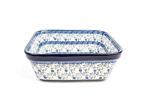 Forget Me Not Square Dish, Polish Pottery Stoneware Ranges