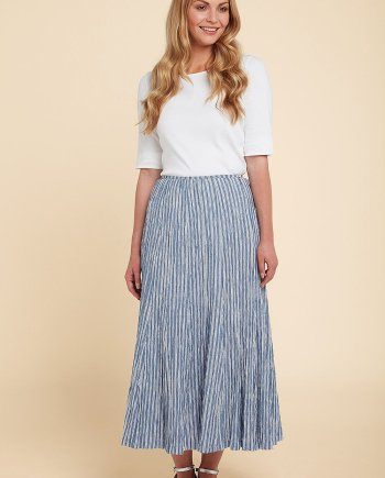 Atlantic Stripe Steph Skirt - Jetty Blue, by Aldini