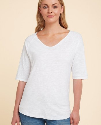 Cotton Slub Iris Top - White, by Adini