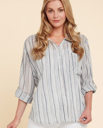 Colorado Stripe Teagan Top - Mink, by Aldini