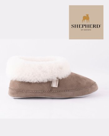 Shepherd Emmy Ladies Soft Sole Sheepskin Slipper Stone White Collar