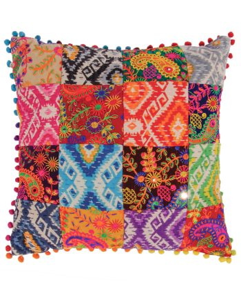 Namaste Multi Patch Embroidered Cushion Cover