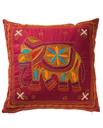 Namaste Embroidered Elephant Cushion Cover - Maroon