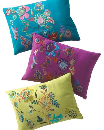 Namaste Cushion Cover with Floral Embroidery - Lime