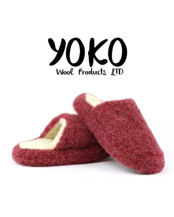 Yoko Wool Slippers Basic Dark Red Mule
