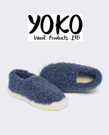 Yoko Wool Slippers Siberian Dark Blue