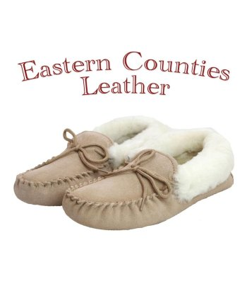 Eastern Counties Leather Ladies Sheepskin Lined Camel Moccasin