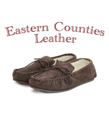 Eastern Counties Leather Unisex Wool Lined Brown Moccasin Hard Sole