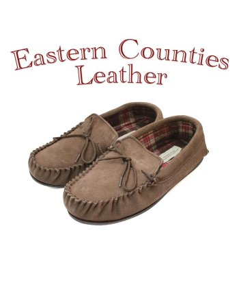 Eastern Counties Leather_Men's Suede Taupe Moccasin