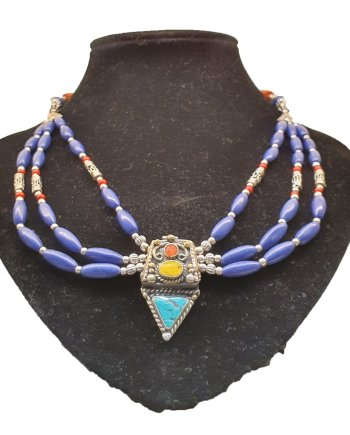 Multi String Lapis Necklace