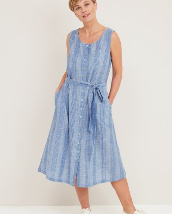 Denim Voile Stripe Talulah Dress - Denim