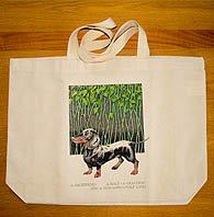 Simon Drew Dachshund Canvas Bag