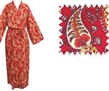 Dressing Gown Kimono Red Paisley
