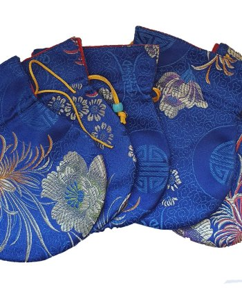 Small Satin Drawstring Bag Blue