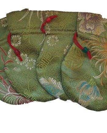 Small Satin Drawstring Bag Green