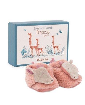 Giraffe slippers by Moulin Roty