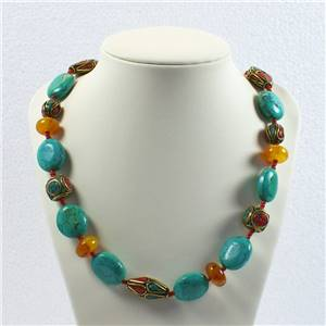 Tibetan bead and turquoise necklace