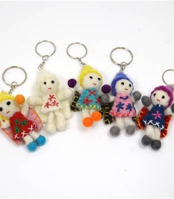 Felted Doll Hand made Keyring